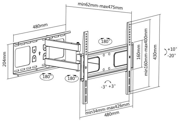 LC-U5R1 55C - Uchwyt do TV 32 - 55 cali z regulacją - Uchwyty ścienne uniwersalne