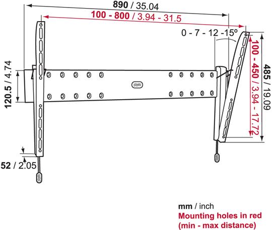 Uchwyt Vogels Physix PHW200L - Uchwyty ścienne uniwersalne
