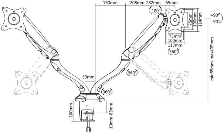 LC-UB 237 - Uchwyt biurkowy na 2 monitory 13 - 27 cali - Uchwyty do biurka